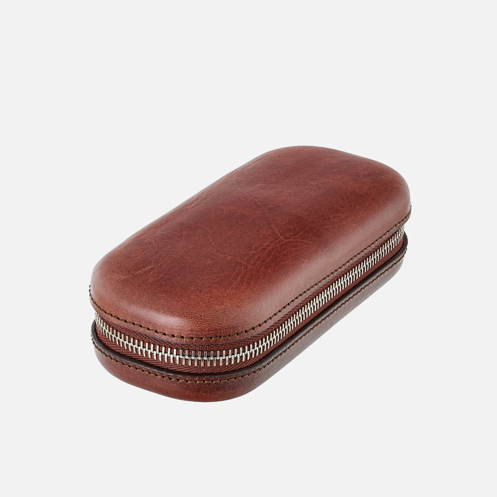 Burgundy Moulded Oak-Tanned Leather Watch Case For Two Watches