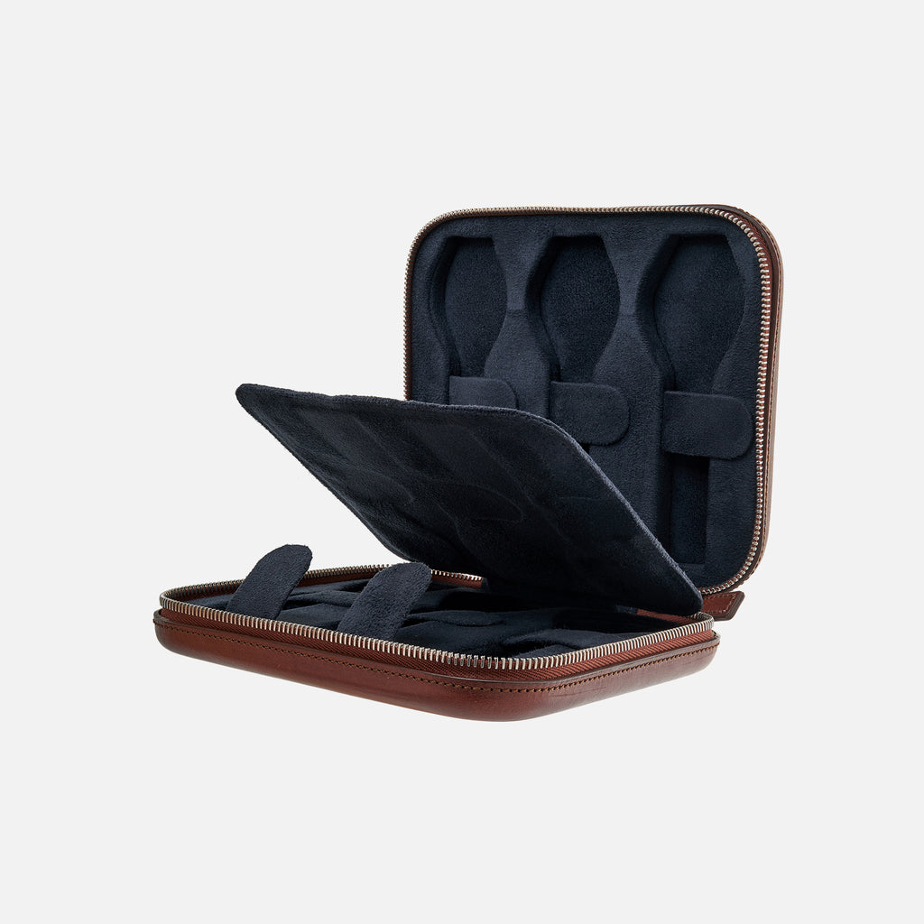 Burgundy Moulded Oak-Tanned Leather Case For Six Watches