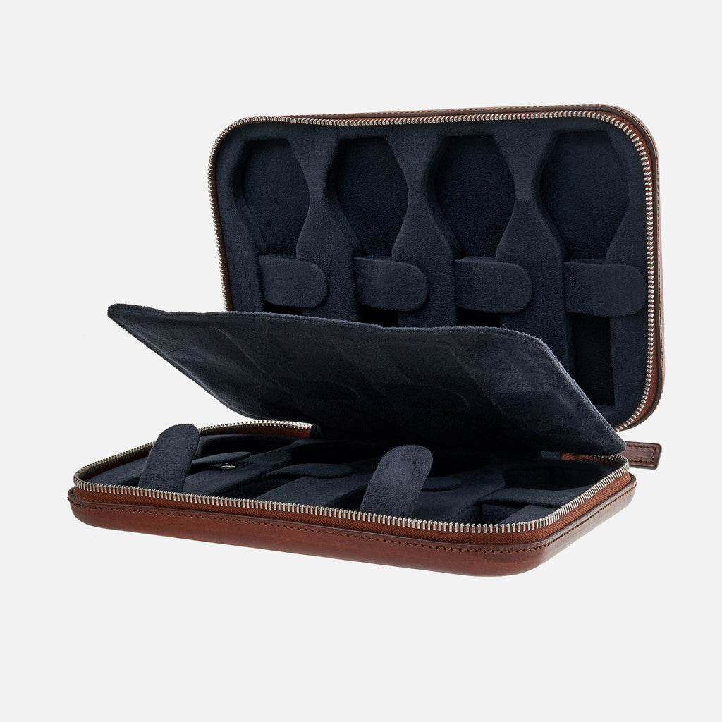 Burgundy Moulded Oak-Tanned Leather Case For Eight Watches