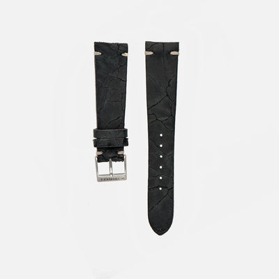 Cracked Black Leather Watch Strap