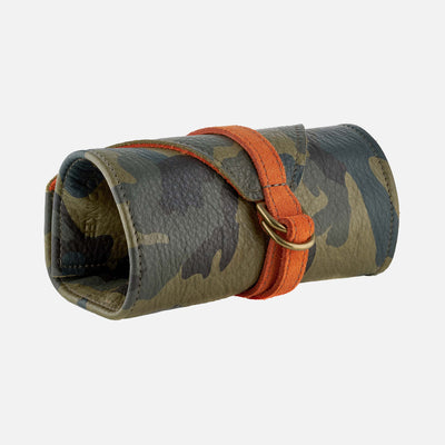 Camouflage And Orange Leather Roll For Four Watches