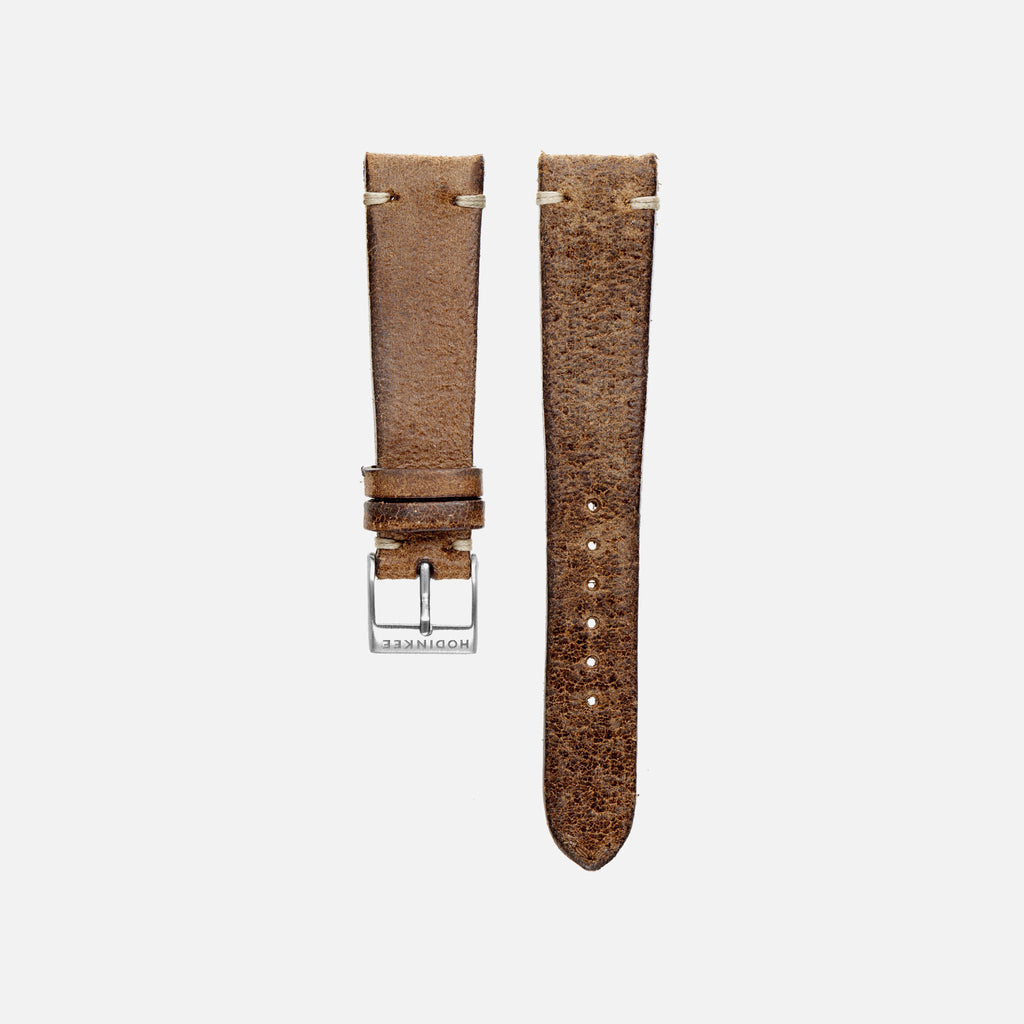 Distressed Brown Leather Watch Strap