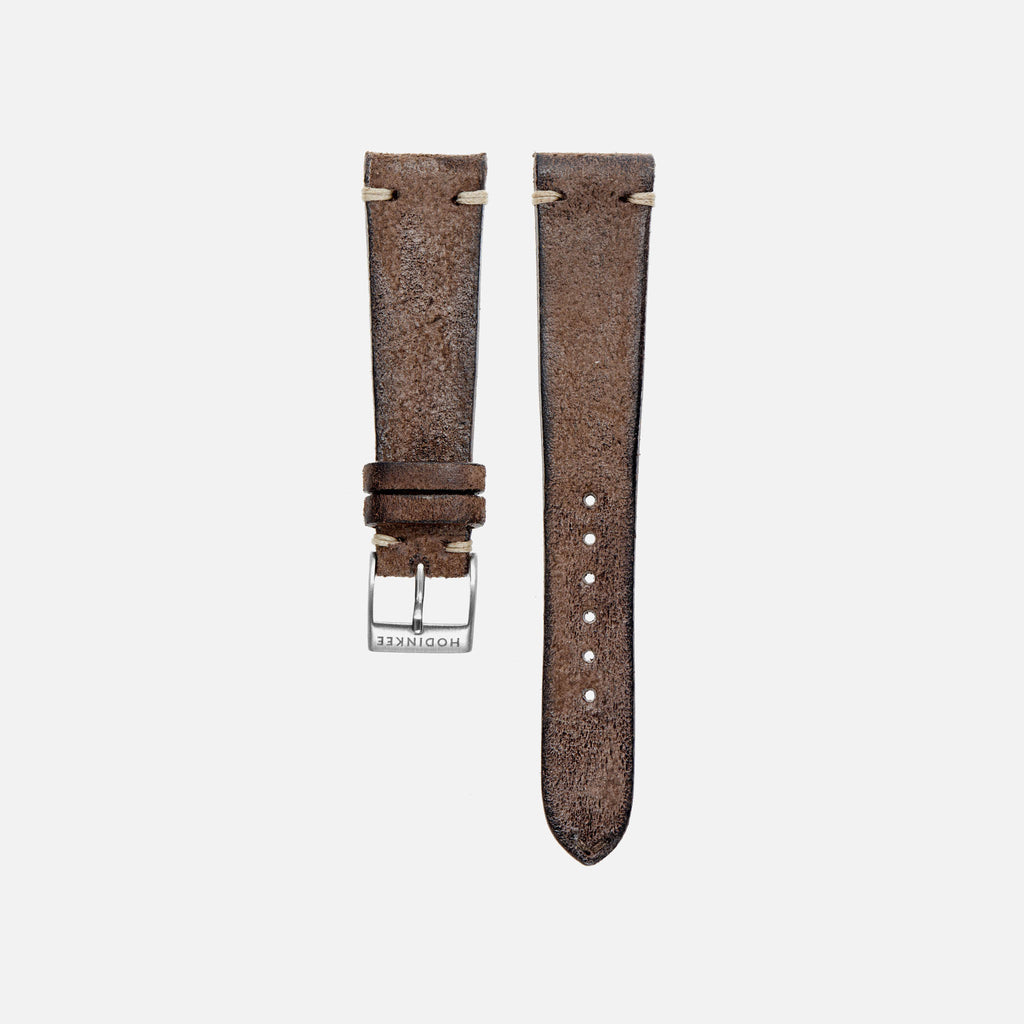Distressed Dark Brown Leather Watch Strap