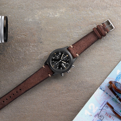 Distressed Dark Brown Leather Watch Strap alternate image.