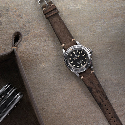 Distressed Grey Leather Watch Strap alternate image.