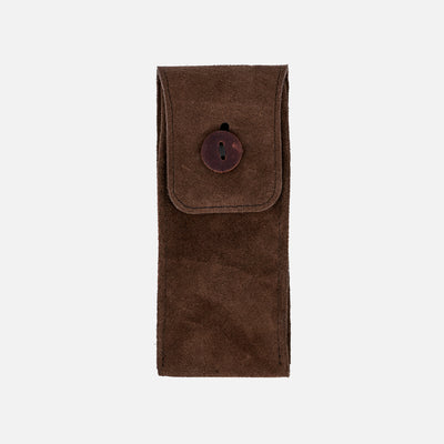 English Suede Watch Pouch In Brown