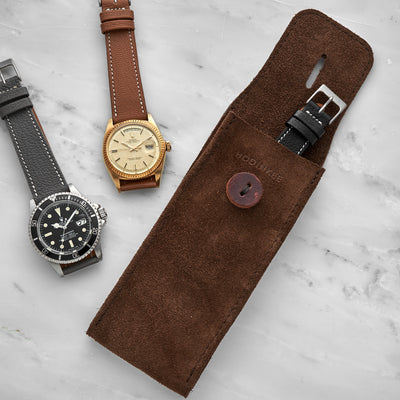English Suede Watch Pouch In Brown alternate image.