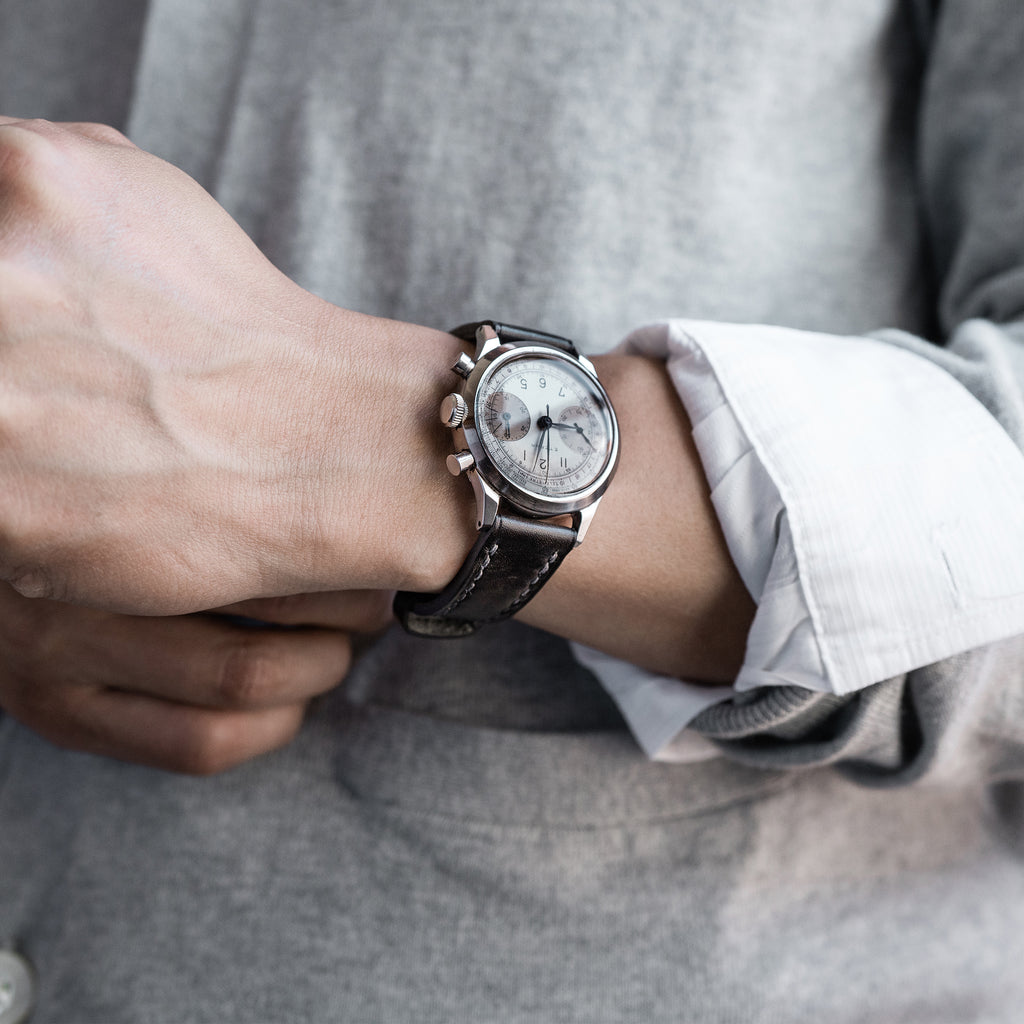 David Lane Design Dark Grey Museum Calf Watch Strap For HODINKEE