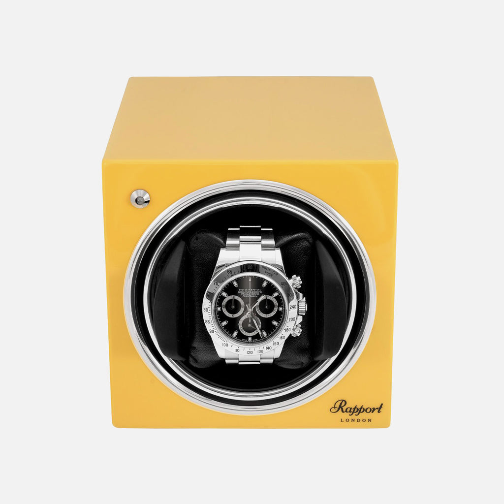 Rapport Evo Cube Watch Winder In Citrus Yellow