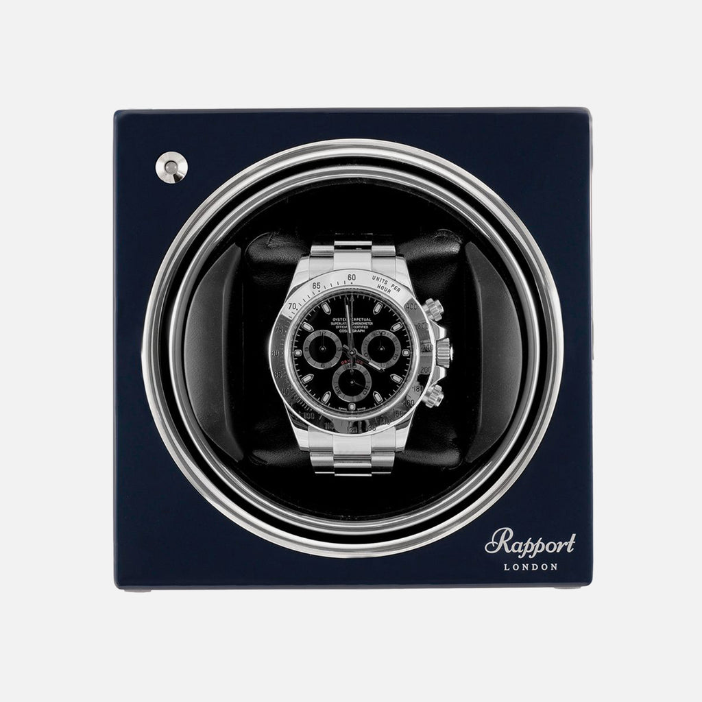 Rapport Evo Cube Watch Winder In Admiral Blue