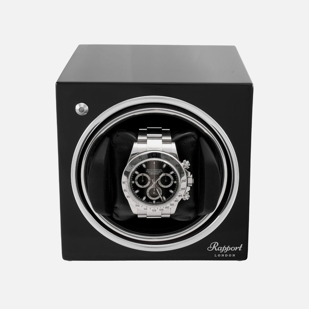 Rapport Evo Cube Watch Winder In Midnight Black