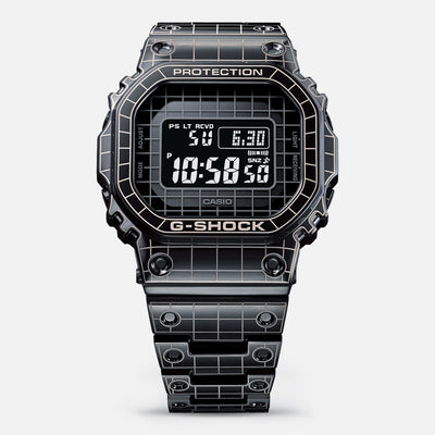 G-SHOCK GMWB5000CS-1 'Full Metal' Black IP-Coated Stainless Steel With 'Grid Tunnel' Pattern alternate image.