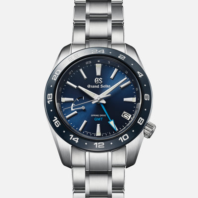 Grand Seiko Spring Drive GMT SBGE255 Ceramic Bezel In Blue