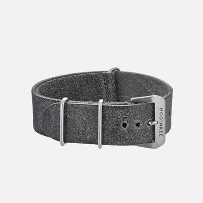 Distressed Grey Leather Single-Piece Watch Strap