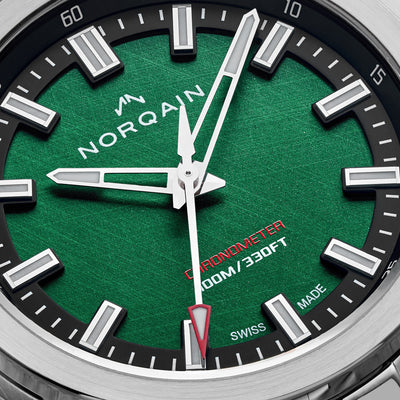 NORQAIN Independence 20 'Scratched Forest Green' Dial On Leather Strap Limited Edition alternate image.