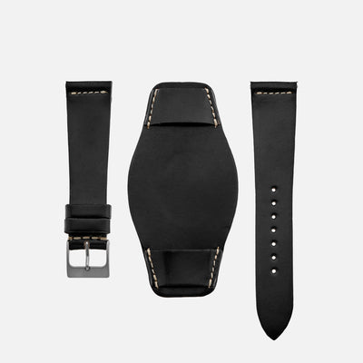 The Unlined Shell Cordovan Heaton Bund Strap In Black