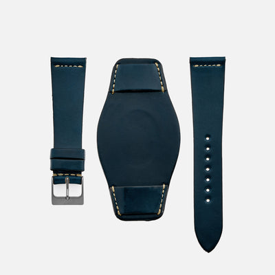 The Unlined Shell Cordovan Heaton Bund Strap In Blue