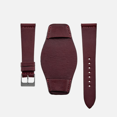 The Unlined Leather Heaton Bund Strap In Cooper Burgundy