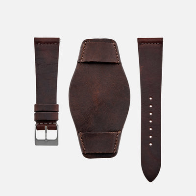 The Unlined Leather Heaton Bund Strap In Dark Brown Calfskin