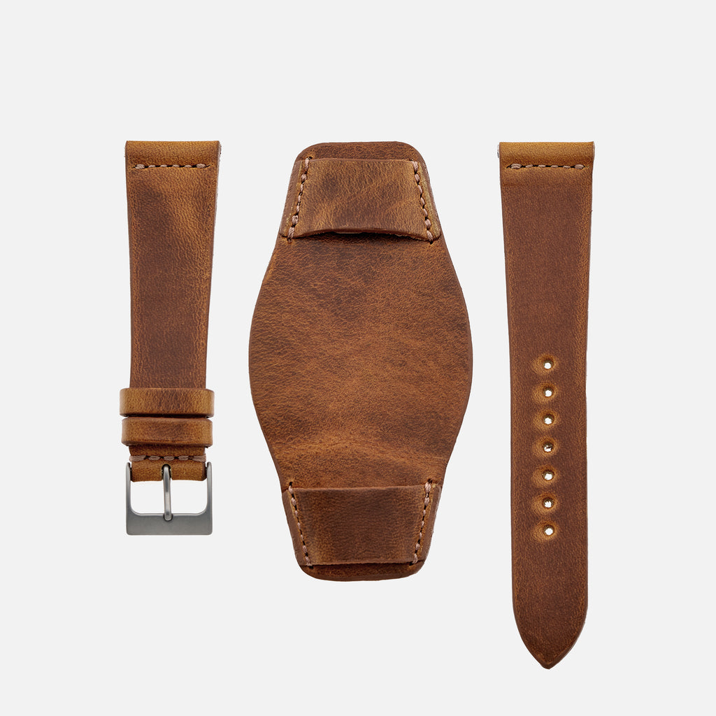 The Unlined Leather Heaton Bund Strap In Faded Brown Calfskin