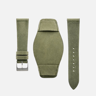 The Unlined Leather Heaton Bund Strap In Moss Green Calfskin