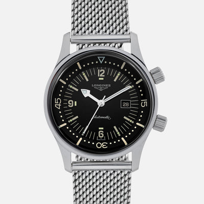 Longines Legend Diver 36mm Black Dial On Bracelet