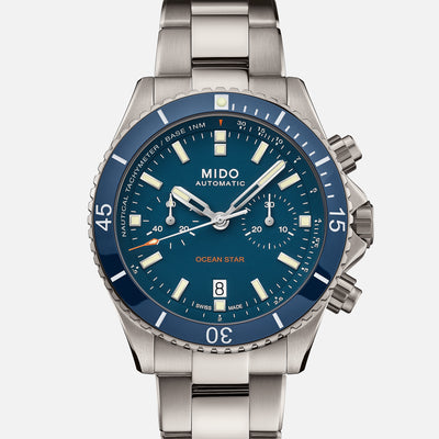 Mido Ocean Star Chronograph Titanium With Blue Dial
