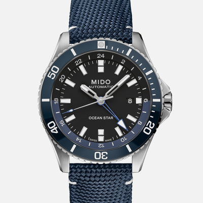 Mido Ocean Star GMT Black Dial On Blue Strap