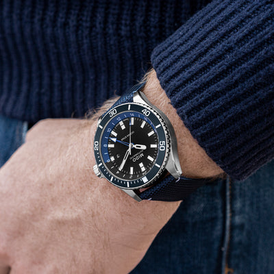 Mido Ocean Star GMT Black Dial On Blue Strap alternate image.