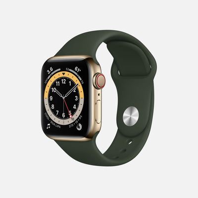 Apple Watch Series 6 GPS + Cellular Gold Stainless Steel Case 40mm With Cyprus Green Sport Band alternate image.