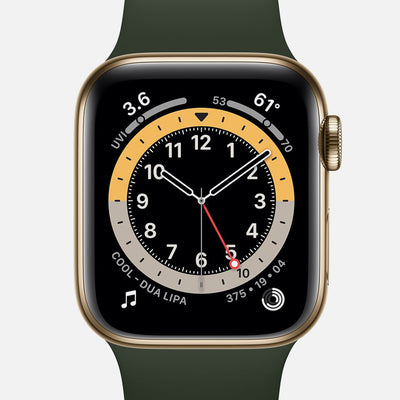 Apple Watch Series 6 GPS + Cellular Gold Stainless Steel Case 40mm With Cyprus Green Sport Band