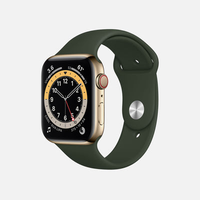 Apple Watch Series 6 GPS + Cellular Gold Stainless Steel Case 44mm With Cyprus Green Sport Band alternate image.