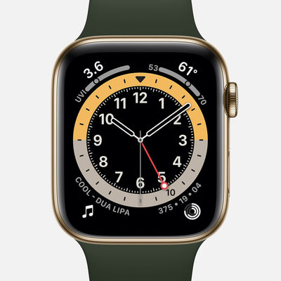 Apple Watch Series 6 GPS + Cellular Gold Stainless Steel Case 44mm With Cyprus Green Sport Band