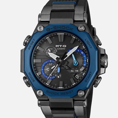 G-SHOCK MTG-B2000B-1A2 Dual Core Guard With Blue Bezel On Resin Strap