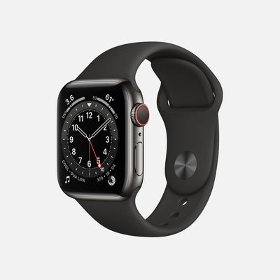 Apple Watch Series 6 GPS + Cellular Graphite Stainless Steel Case 40mm With Black Sport Band alternate image.