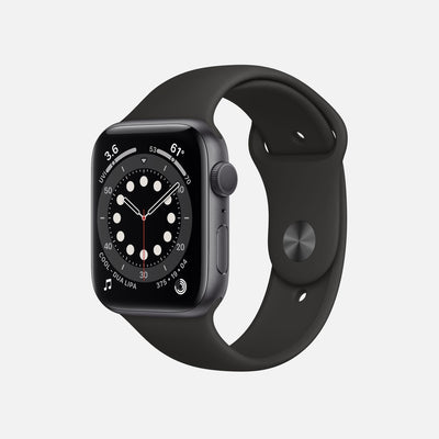 Apple Watch Series 6 GPS + Cellular Space Gray Aluminum Case 44mm With Black Sport Band alternate image.