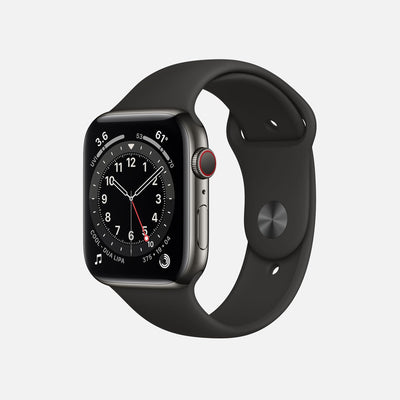 Apple Watch Series 6 GPS + Cellular Graphite Stainless Steel Case 44mm With Black Sport Band alternate image.