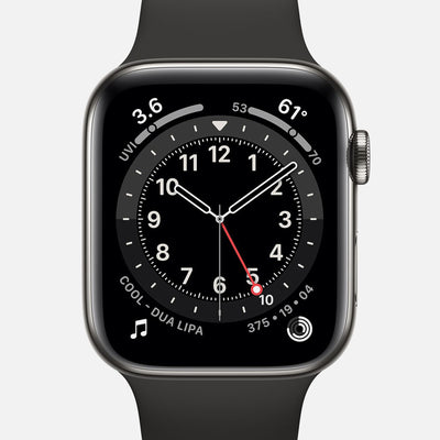 Apple Watch Series 6 GPS + Cellular Graphite Stainless Steel Case 44mm With Black Sport Band