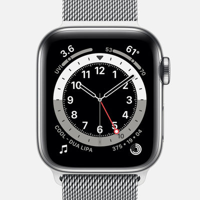 Apple Watch Series 6 GPS + Cellular Silver Stainless Steel Case 40mm With Silver Milanese Loop
