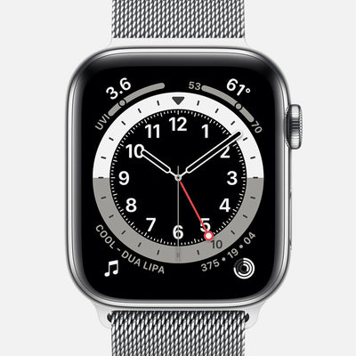 Apple Watch Series 6 GPS + Cellular Silver Stainless Steel Case 44mm With Silver Milanese Loop