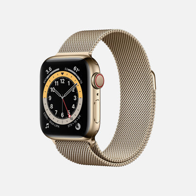 Apple Watch Series 6 GPS + Cellular Gold Stainless Steel Case 40mm With Gold Milanese Loop alternate image.