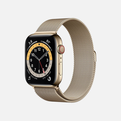 Apple Watch Series 6 GPS + Cellular Gold Stainless Steel Case 44mm With Gold Milanese Loop alternate image.