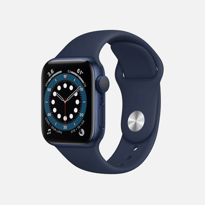 Apple Watch Series 6 GPS + Cellular Blue Aluminum Case 40mm With Deep Navy Sport Band alternate image.