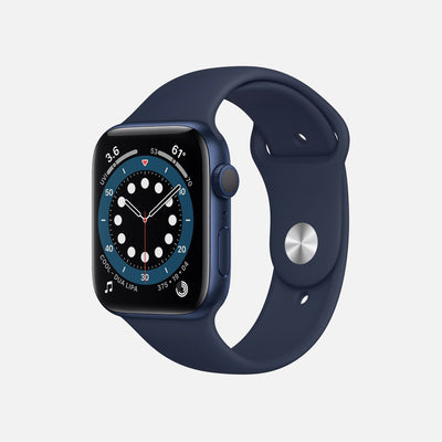 Apple Watch Series 6 GPS + Cellular Blue Aluminum Case 44mm With Deep Navy Sport Band alternate image.