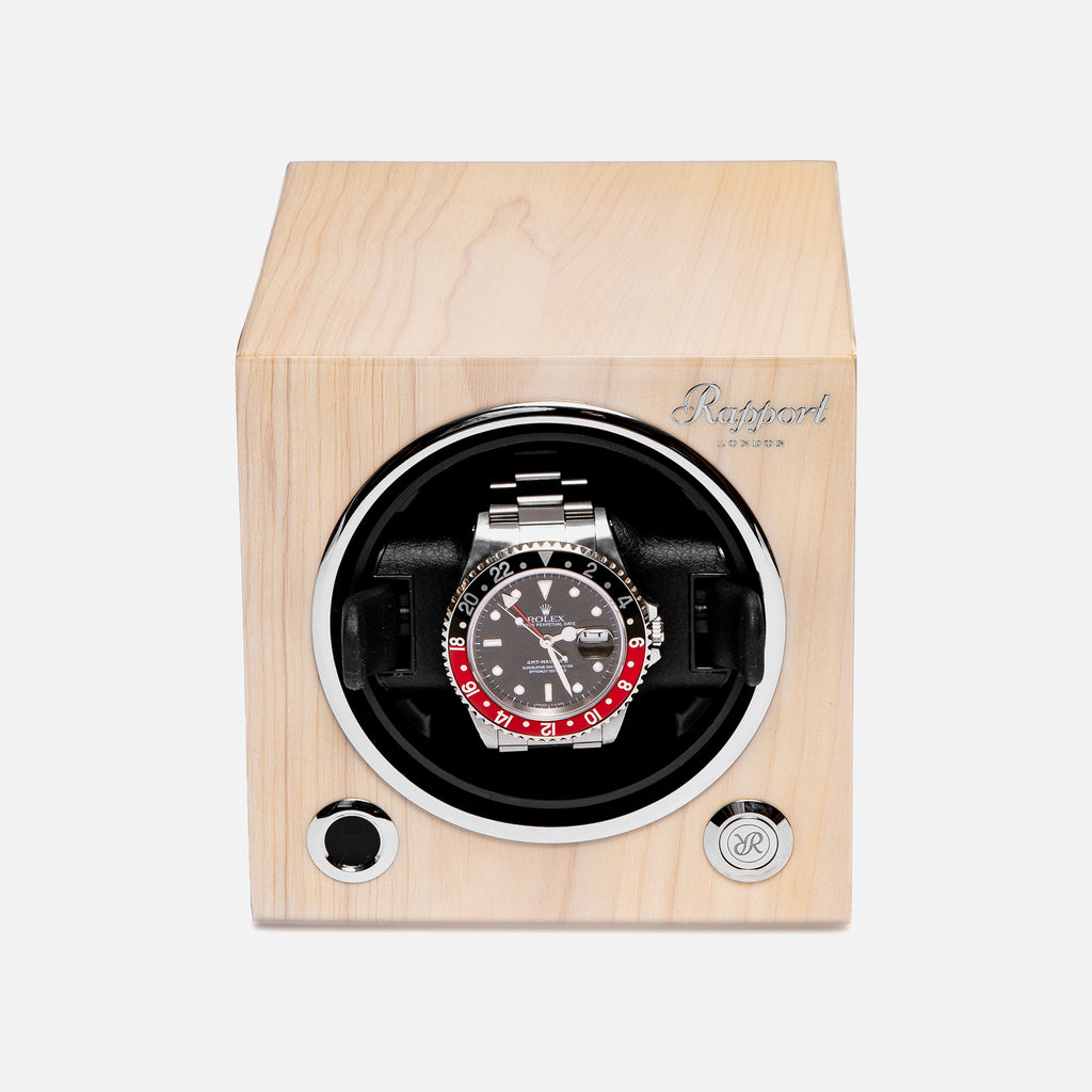 Evo Cube Watch Winder In Maple