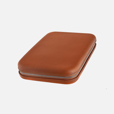 Light Brown Moulded Oak-Tanned Leather Watch Case For Eight Watches