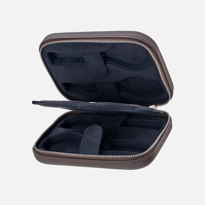 Dark Brown Moulded Oak-Tanned Leather Watch Case For Four Watches alternate image.