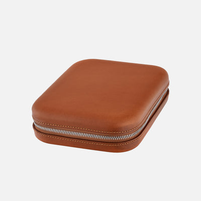 Light Brown Moulded Oak-Tanned Leather Watch Case For Four Watches