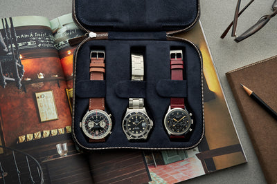 Dark Brown Moulded Oak-Tanned Leather Watch Case For Six Watches alternate image.