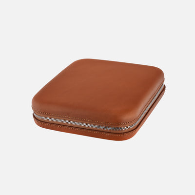 Light Brown Moulded Oak-Tanned Leather Watch Case For Six Watches